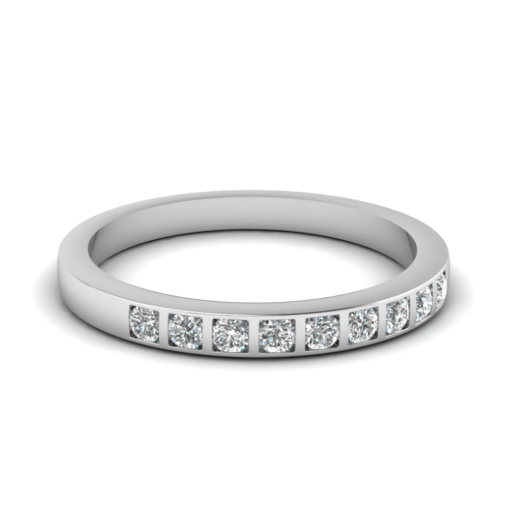 Bar Set Diamond Wedding Ring For Women In Sterling Silver Fd63018b Nl Wg