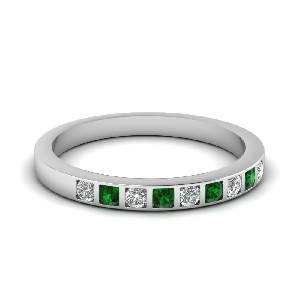 bar set diamond wedding ring for women with emerald in 18K white gold FD63018BGEMGR NL WG