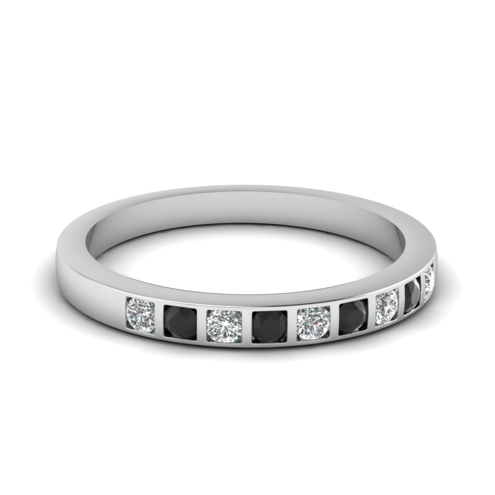 Bar Set Wedding Ring For Women With Black Diamond In Sterling Silver Fd63018bgblack Nl Wg