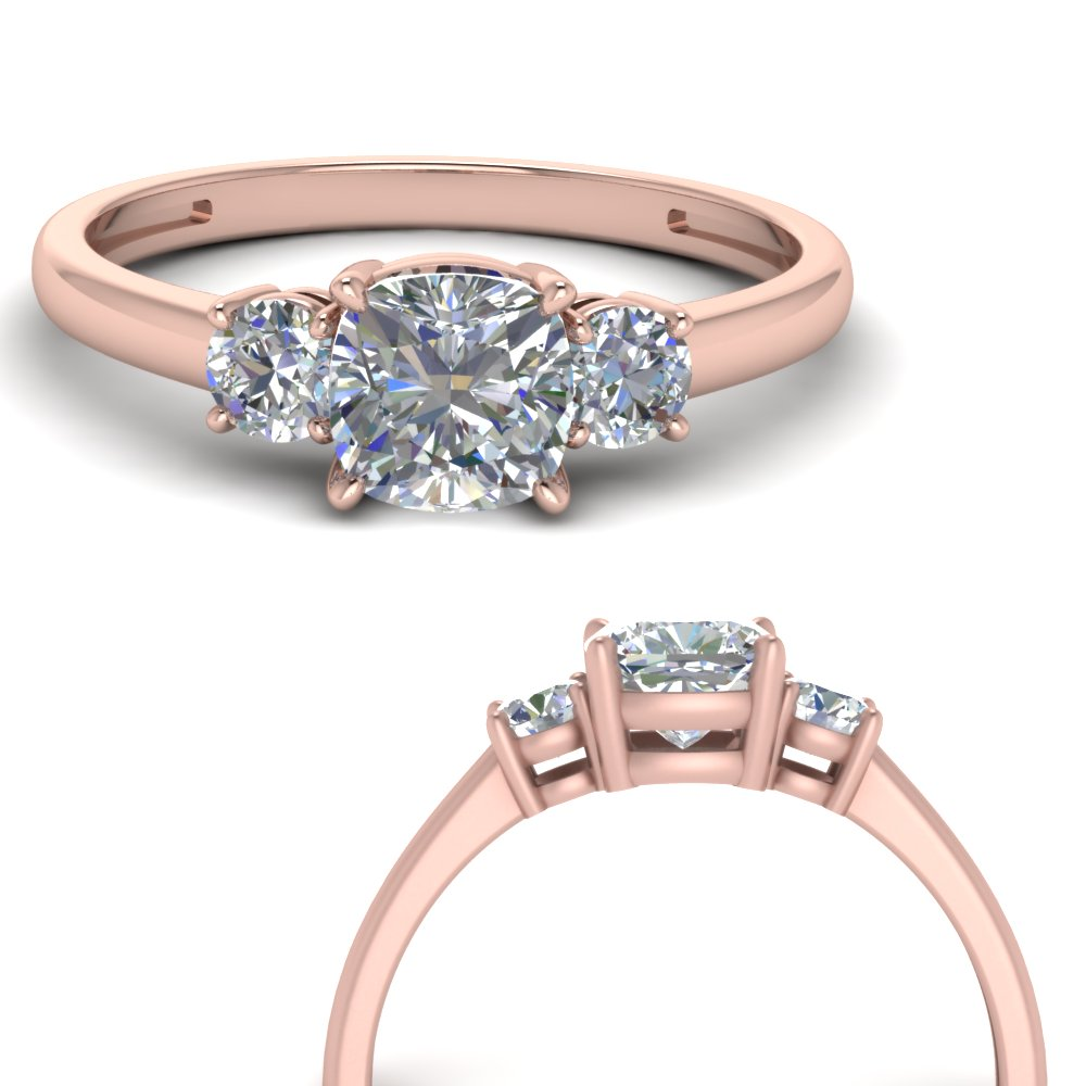 Basket 3 Stone Cushion Cut Engagement Ring In 14k Rose Gold Fascinating Diamonds
