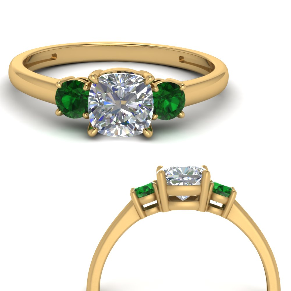 basket-3-stone-cushion-cut-engagement-ring-with-emerald-in-FD9166CURGEMGRANGLE3-NL-YG
