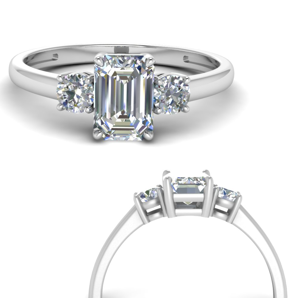 Basket 3 Stone Emerald Cut Engagement Ring In 950 Platinum Fascinating Diamonds