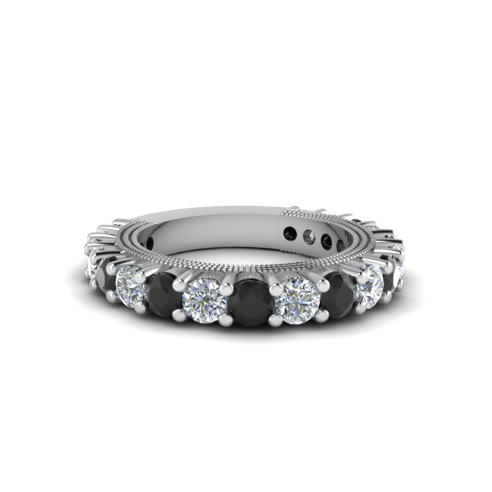 Shared Prong Black Diamond Band