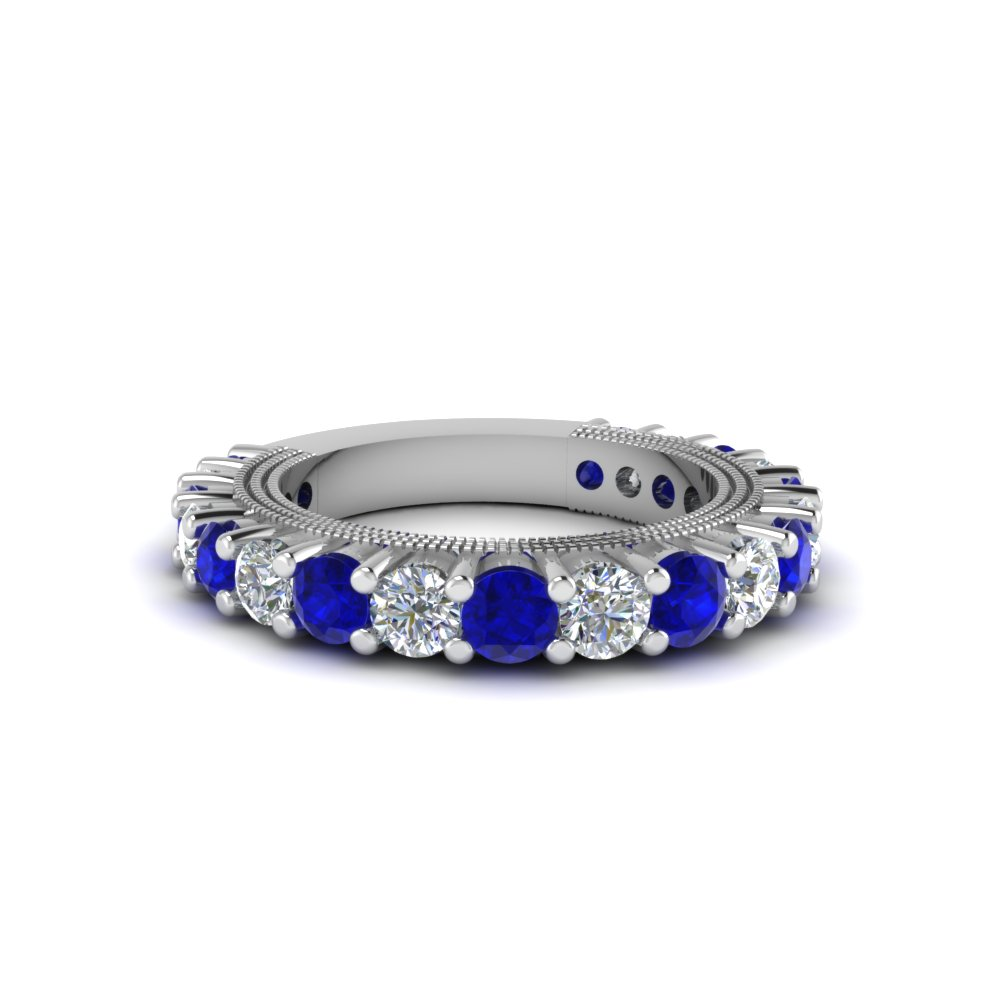 Sapphire And Diamond Vintage Wedding Band