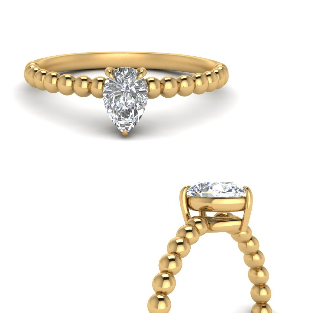 Pear Diamond Bead Solitaire Ring