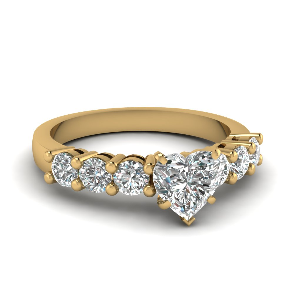 beautiful 1 carat heart shaped diamond engagement ring in 14K yellow gold FDENS141HTR NL YG