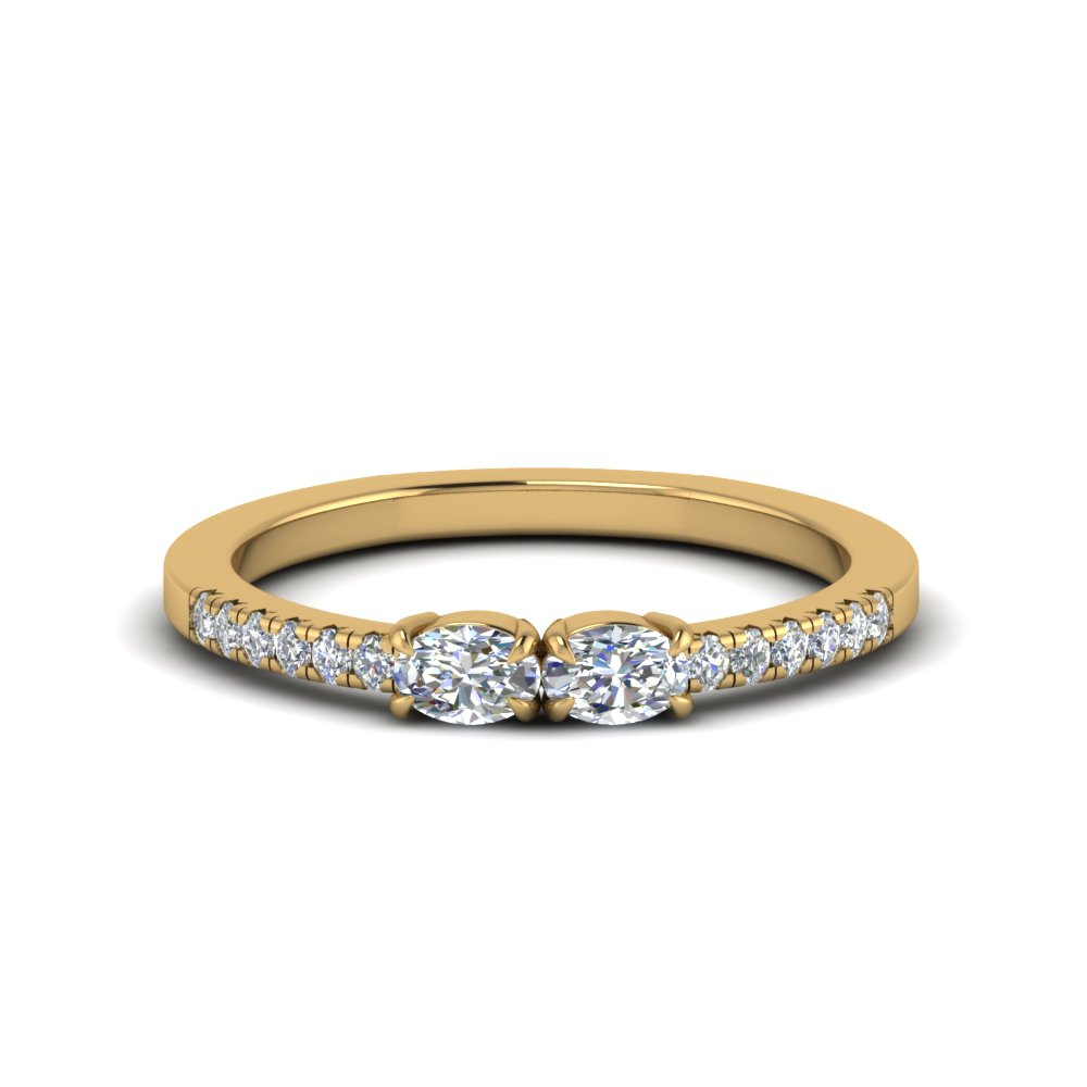 2 oval shaped diamond with accent ring in FD122196OVR NL YG