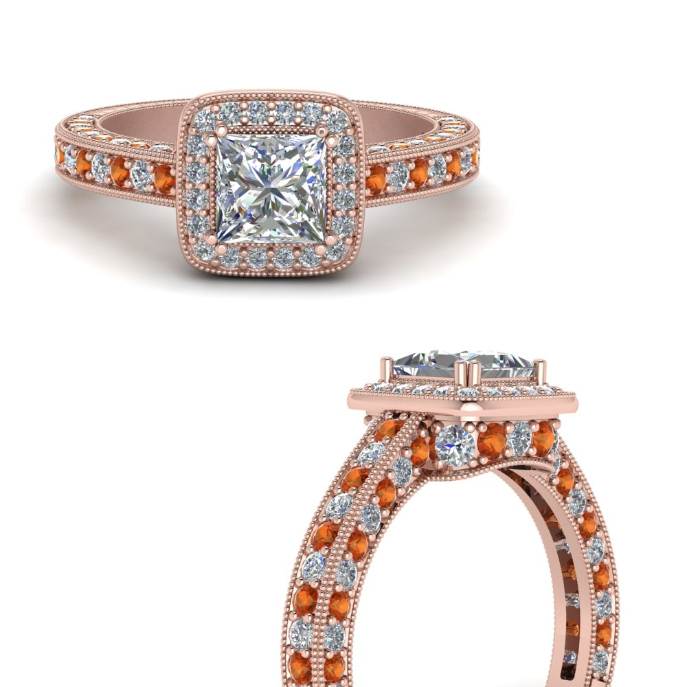 beautiful-antique-looking-diamond-princess-cut-engagement-ring-with-orange-sapphire-in-FDENR6553PRRGSAORANGLE3-NL-RG