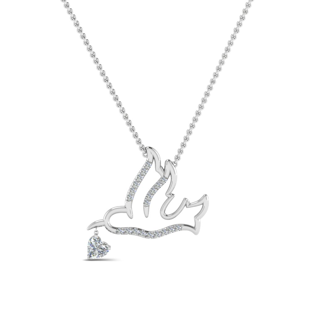 beautiful bird diamond pendant in FDPD8945ANGLE1 NL WG