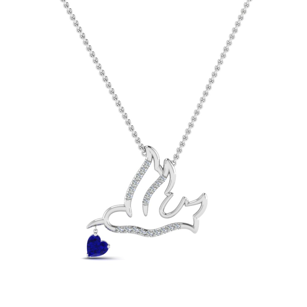 Beautiful Bird Diamond Pendant With Sapphire