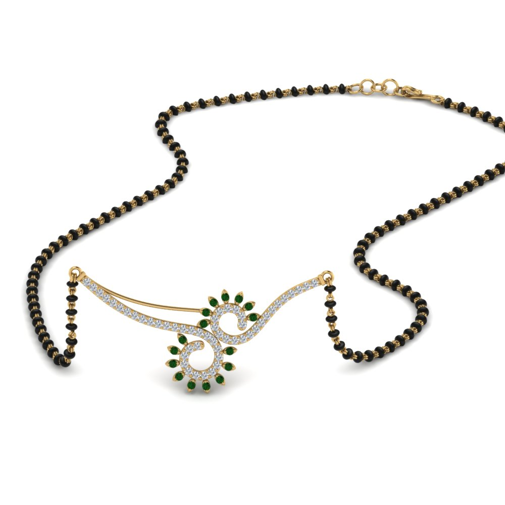 Emerald Beautiful Black Beads Mangalsutra