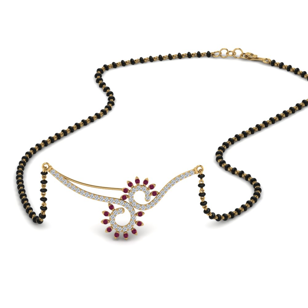 Pink Sapphire Chain Mangalsutra Pendant