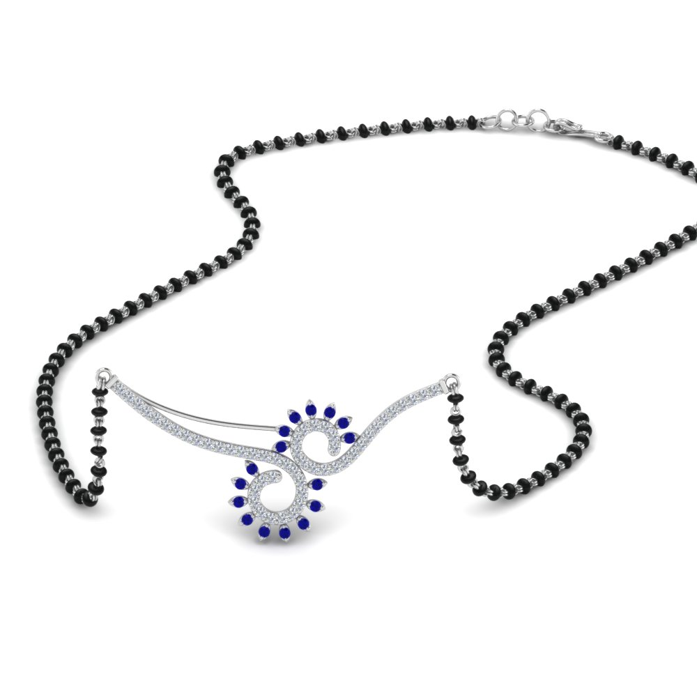 Black Beads Mangalsutra With Sapphire