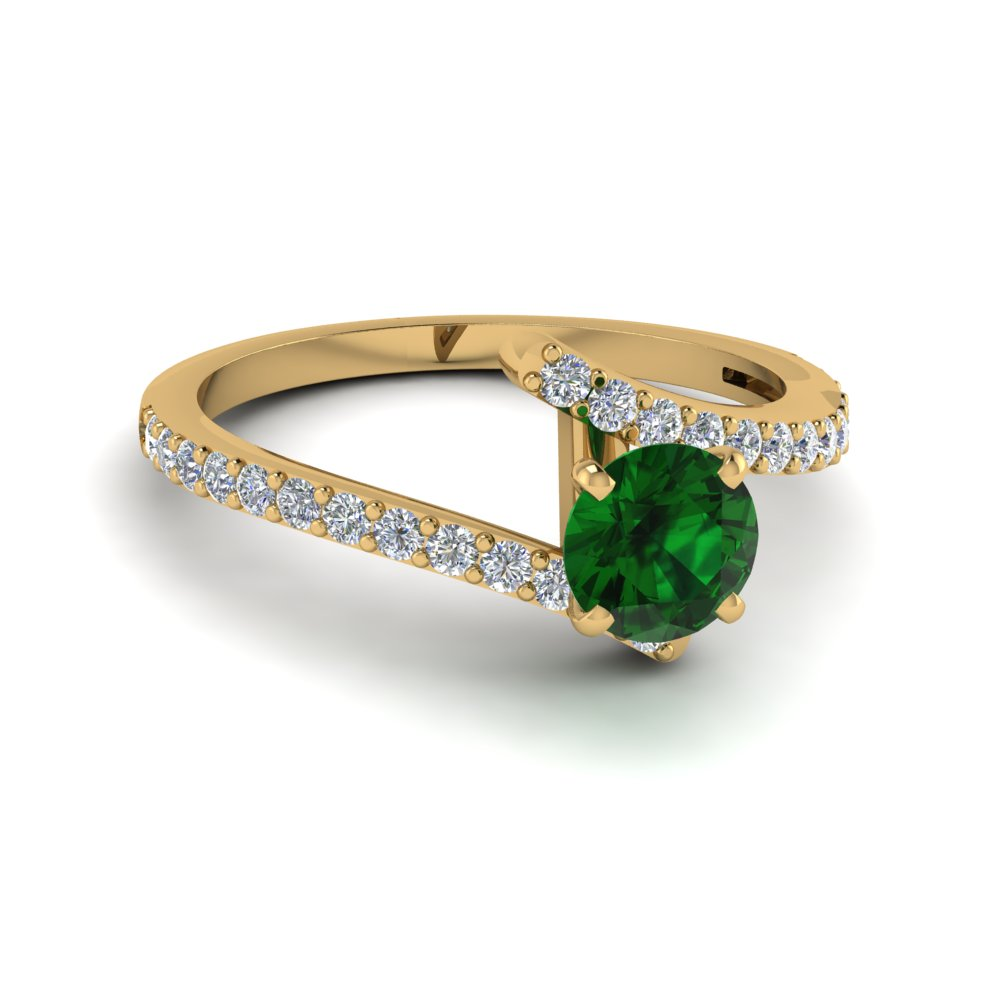 beautiful crossover emerald engagement ring in FDENS3007RORGEM NL YG