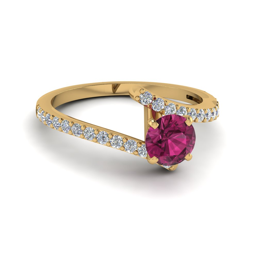 beautiful crossover pink sapphire engagement ring in FDENS3007RORGSP NL YG