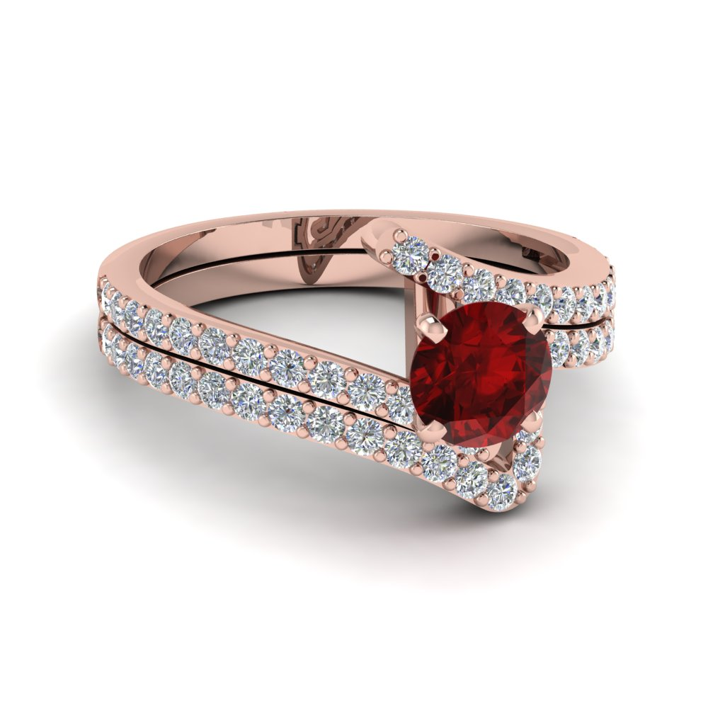 beautiful crossover ruby wedding set in FDENS3007ROGRD NL RG