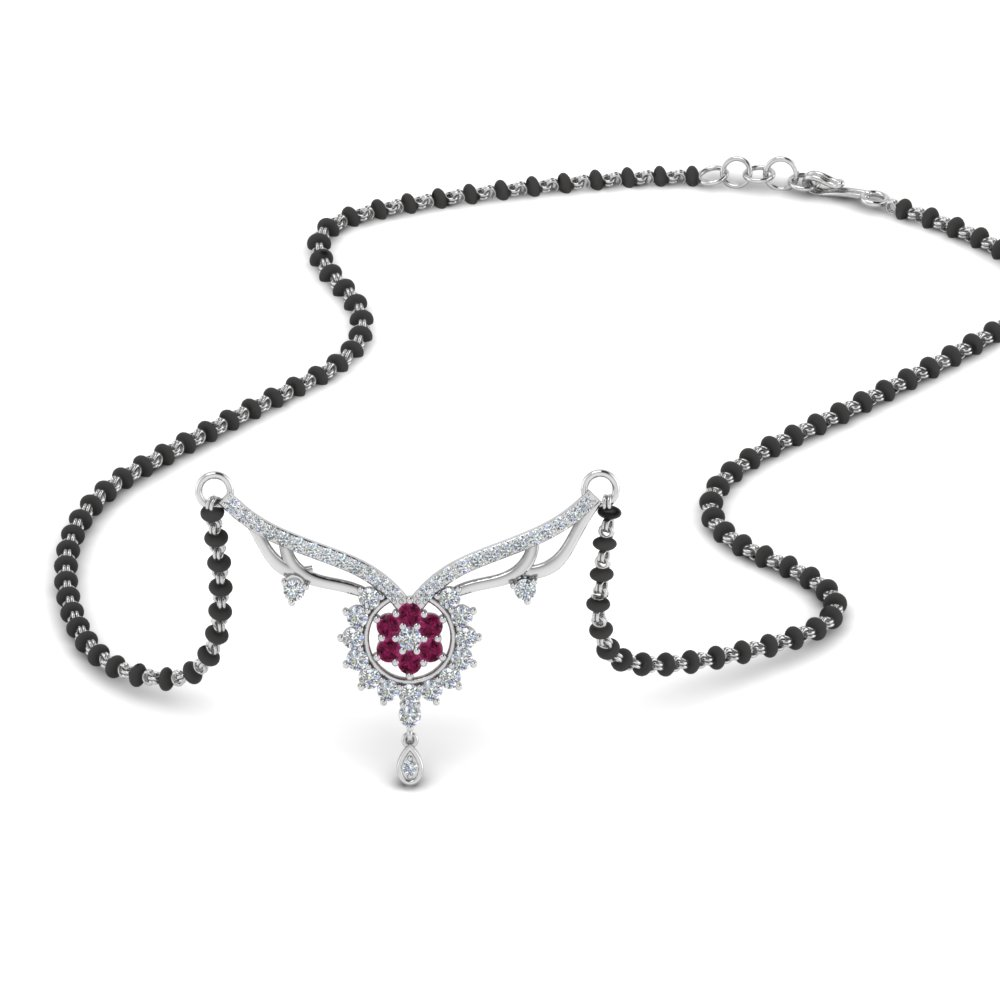 Pink Sapphire Mangalsutra With Beads