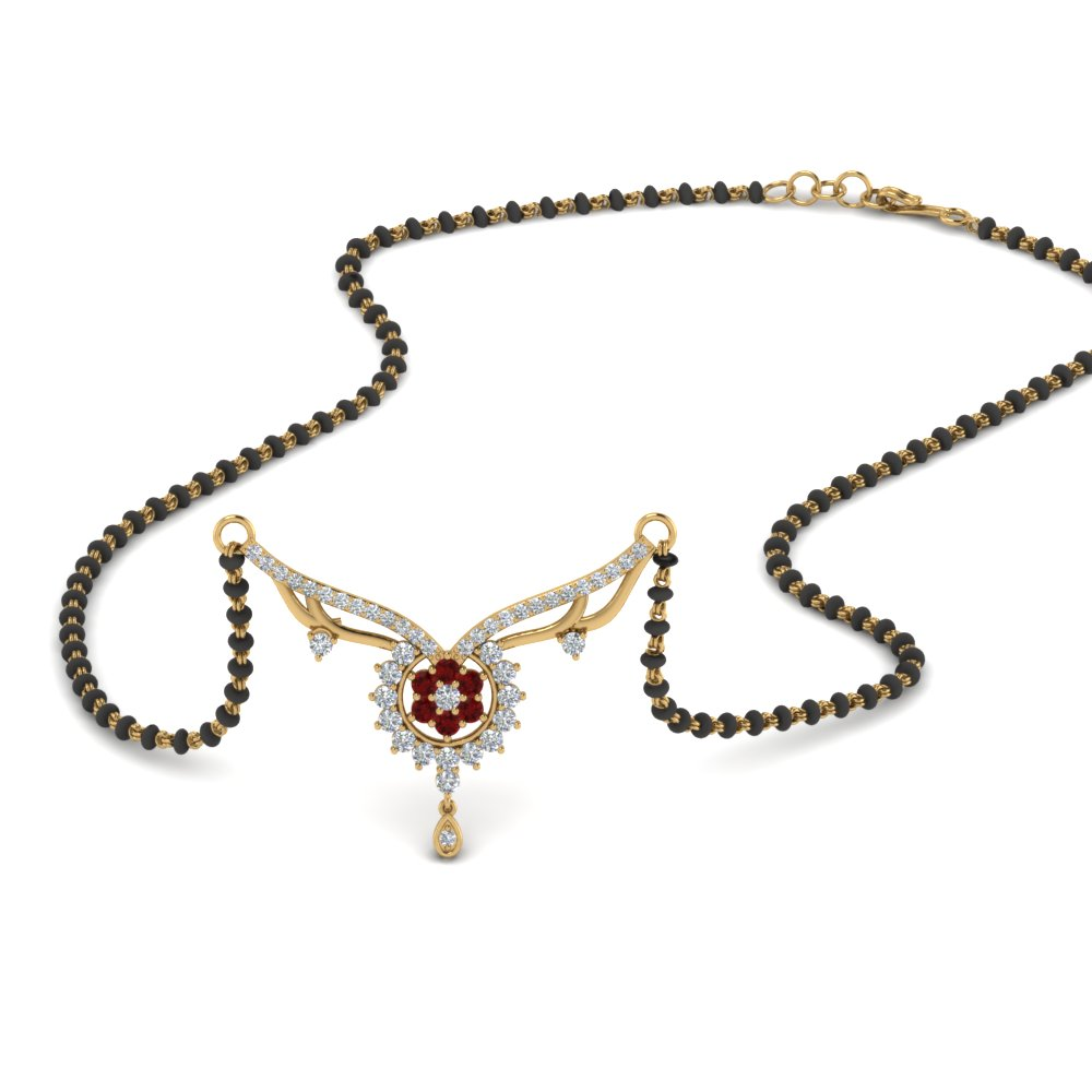 Ruby Mangalsutra With Diamonds