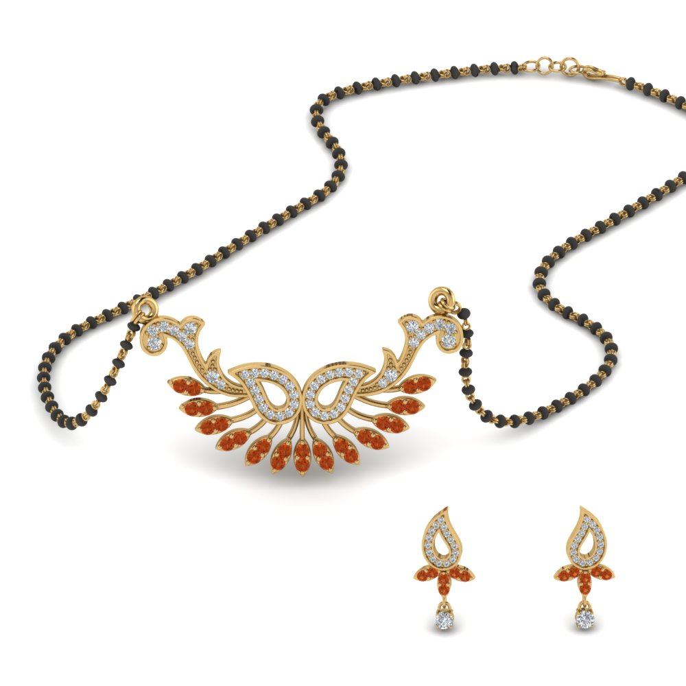 22k Yellow Gold Mangalsutra With Earring Set
