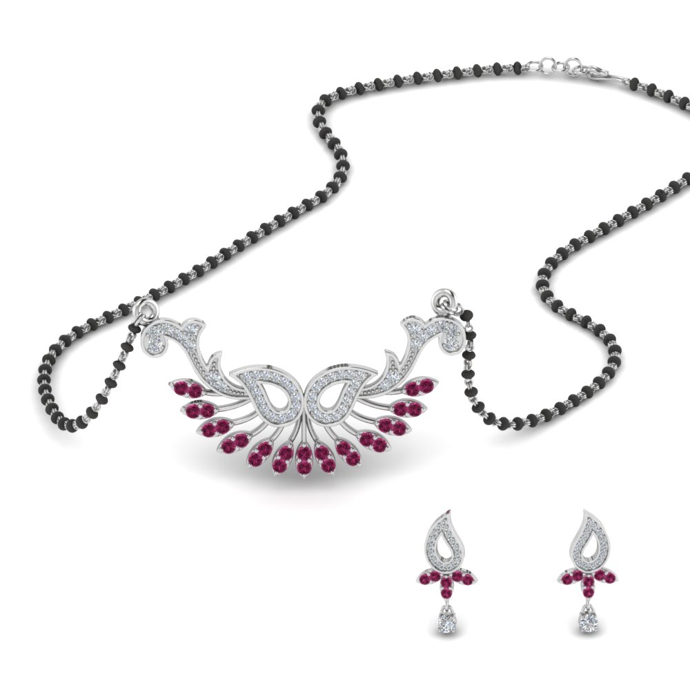 14K White Gold Mangalsutra Earring Set
