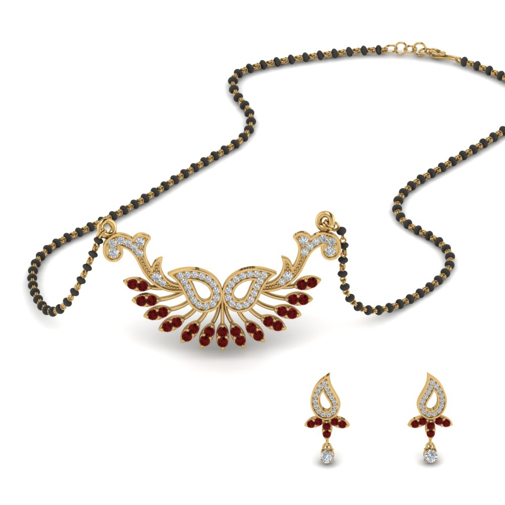Ruby Beautiful Mangalsutra Earring Set