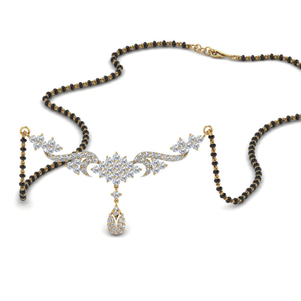 Diamond Necklace Mangalsutra With Beads