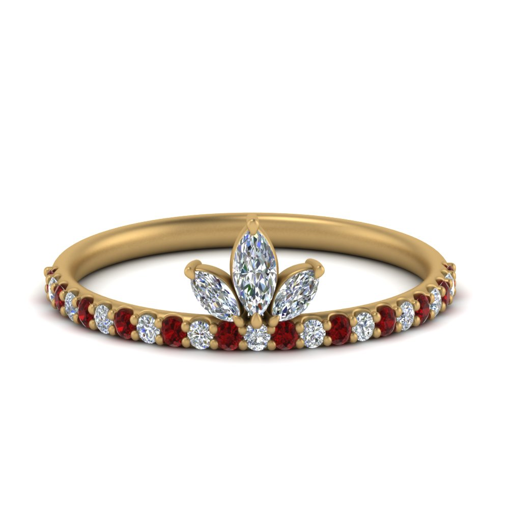 Beautiful Diamond Ruby Wedding Ring
