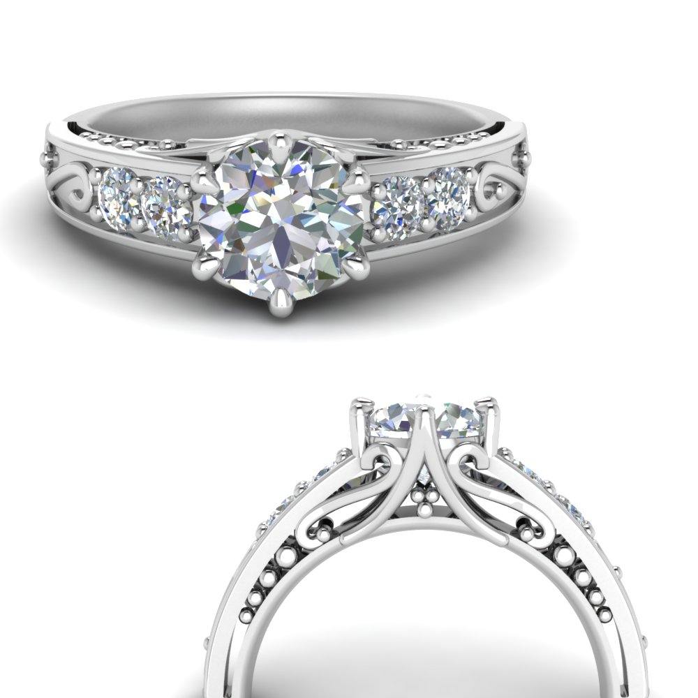 beautiful filigree 6 prong diamond engagement ring in FD9143RORANGLE3 NL WG.jpg
