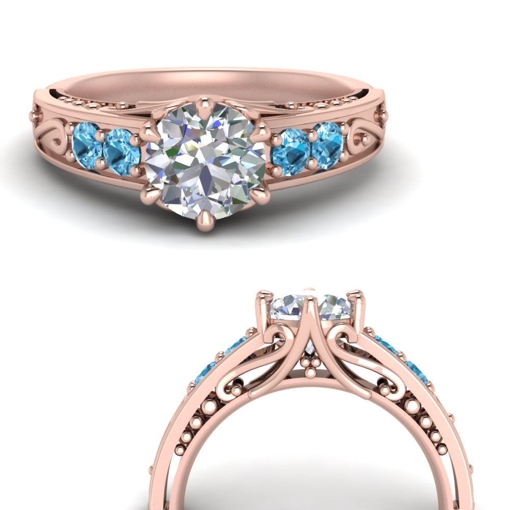 beautiful filigree 6 prong diamond engagement ring with blue topaz in FD9143RORGICBLTOANGLE3 NL RG.jpg