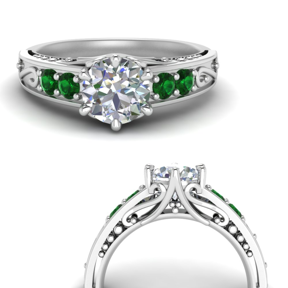 beautiful filigree 6 prong diamond engagement ring with emerald in FD9143RORGEMGRANGLE3 NL WG.jpg