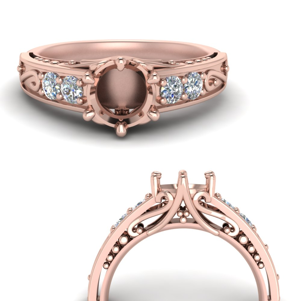 Filigree 6 Prong Ring Setting