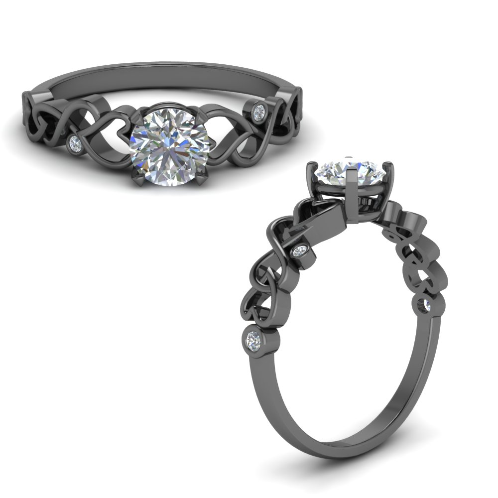 Black Gold Filigree Engagement Ring