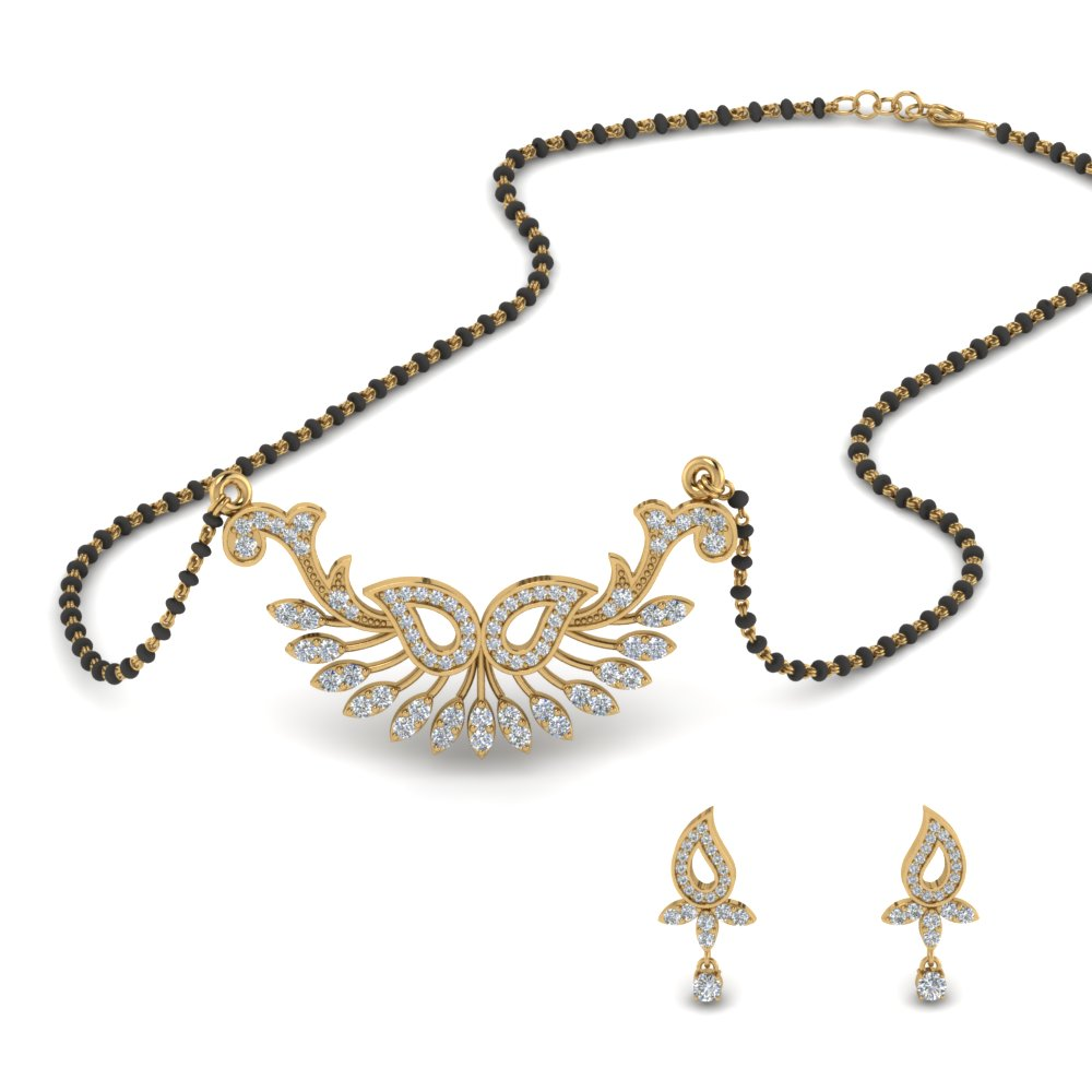 Womens Diamond Mangalsutra Earring Set