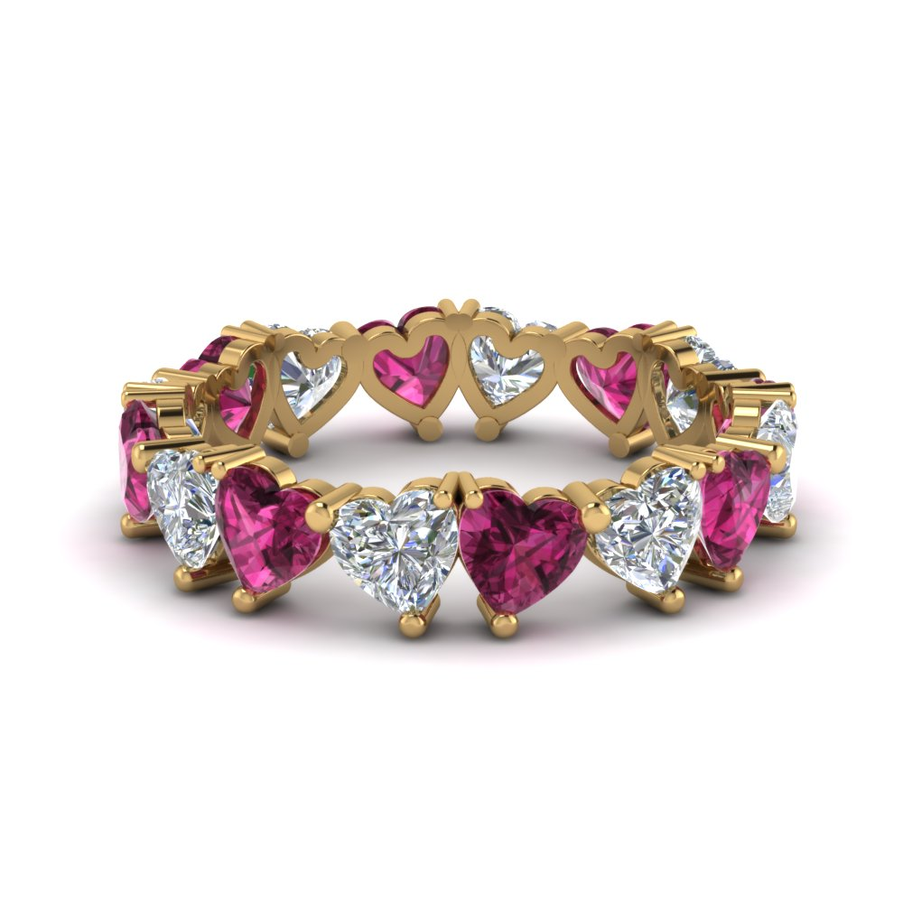 beautiful pink sapphire heart eternity band 4 carat in FDEWB8860GSADRPI NL YG
