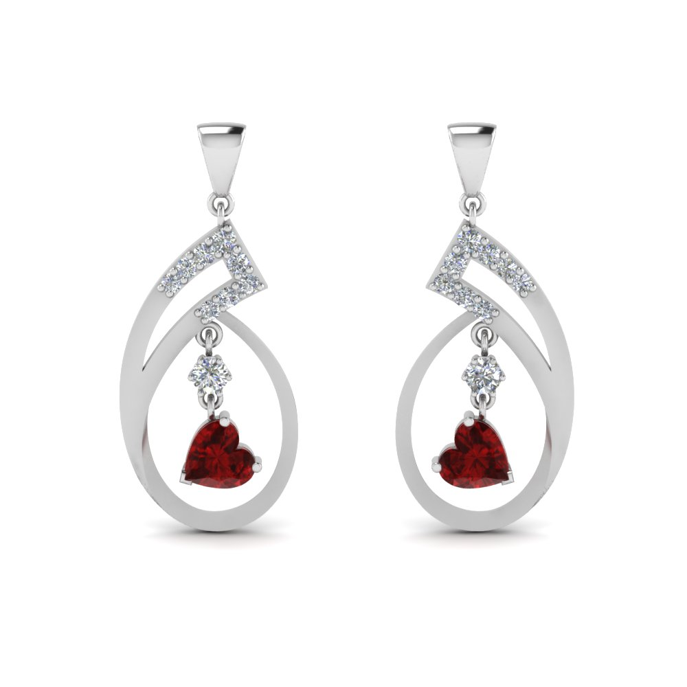 red ruby natural earrings