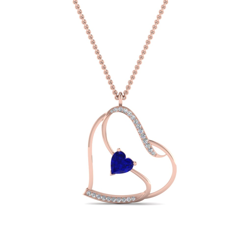 beautiful sapphire heart design diamond pendant in FDPD8774GSABLANGLE2 NL RG