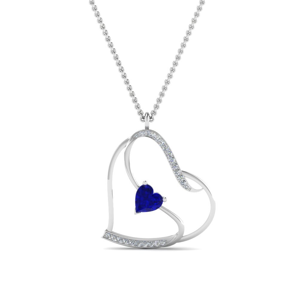 beautiful sapphire heart design diamond pendant in FDPD8774GSABLANGLE2 NL WG