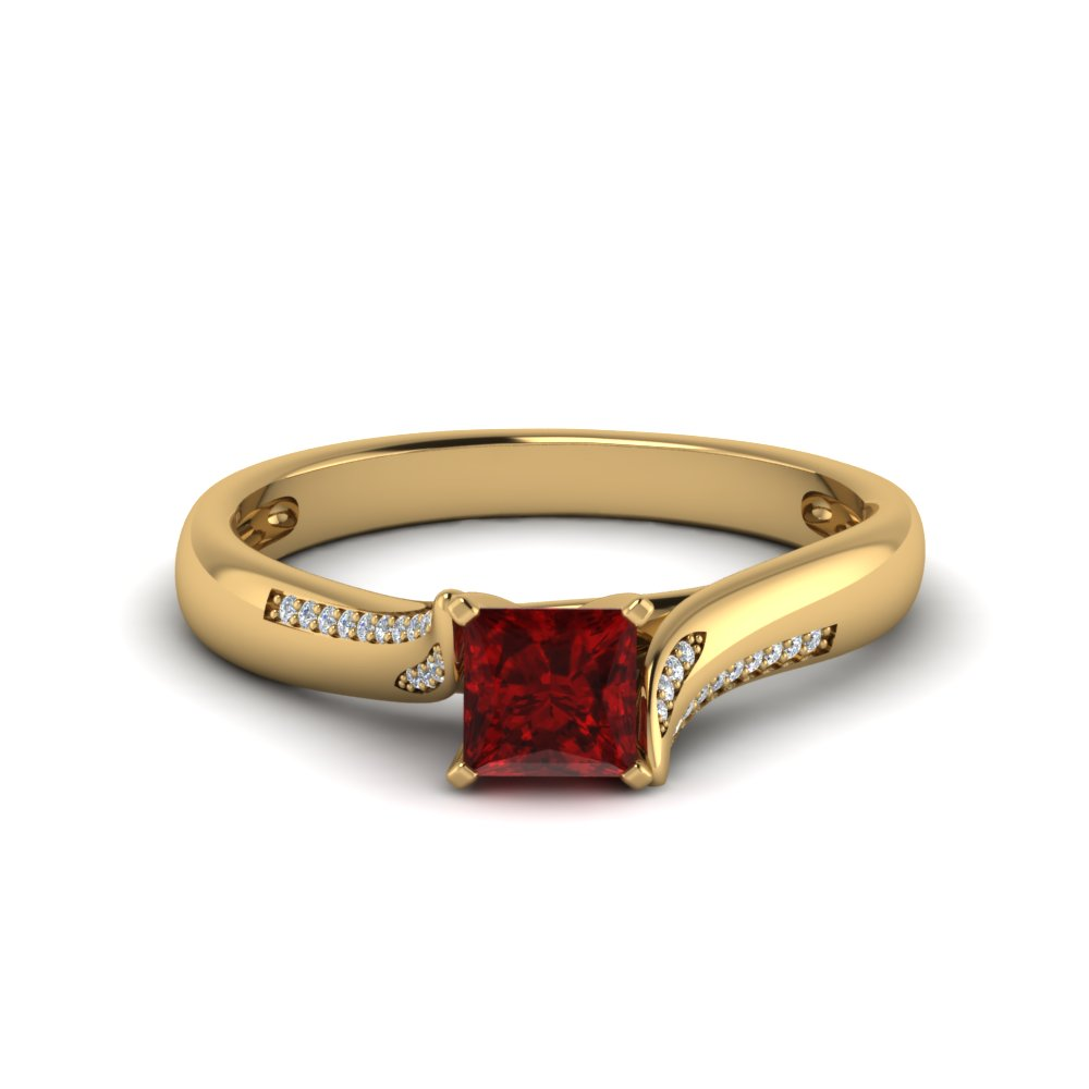 beautiful swirl ruby diamond engagement ring in FDO50859PRYGRD NL YG