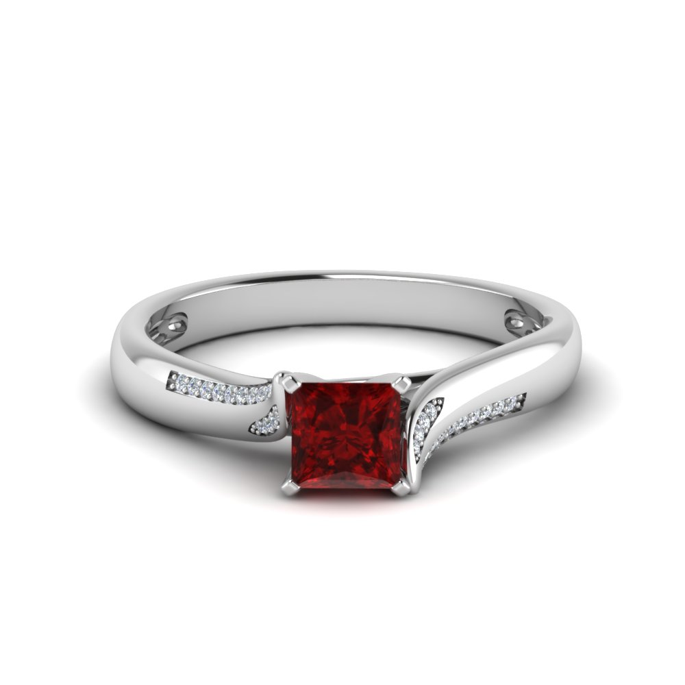 Beautiful Swirl Ruby Platinum Ring