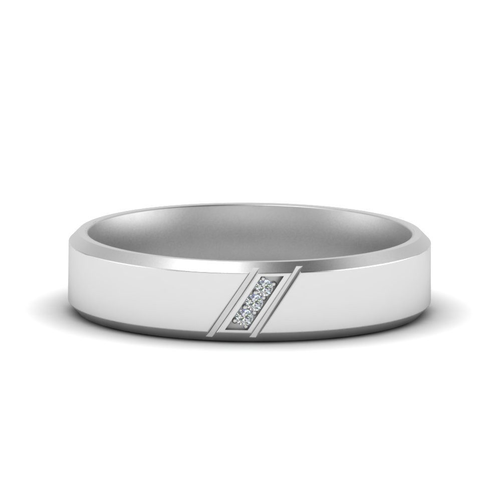 beveled 3 stone mens wedding band in FDM8577B NL WG