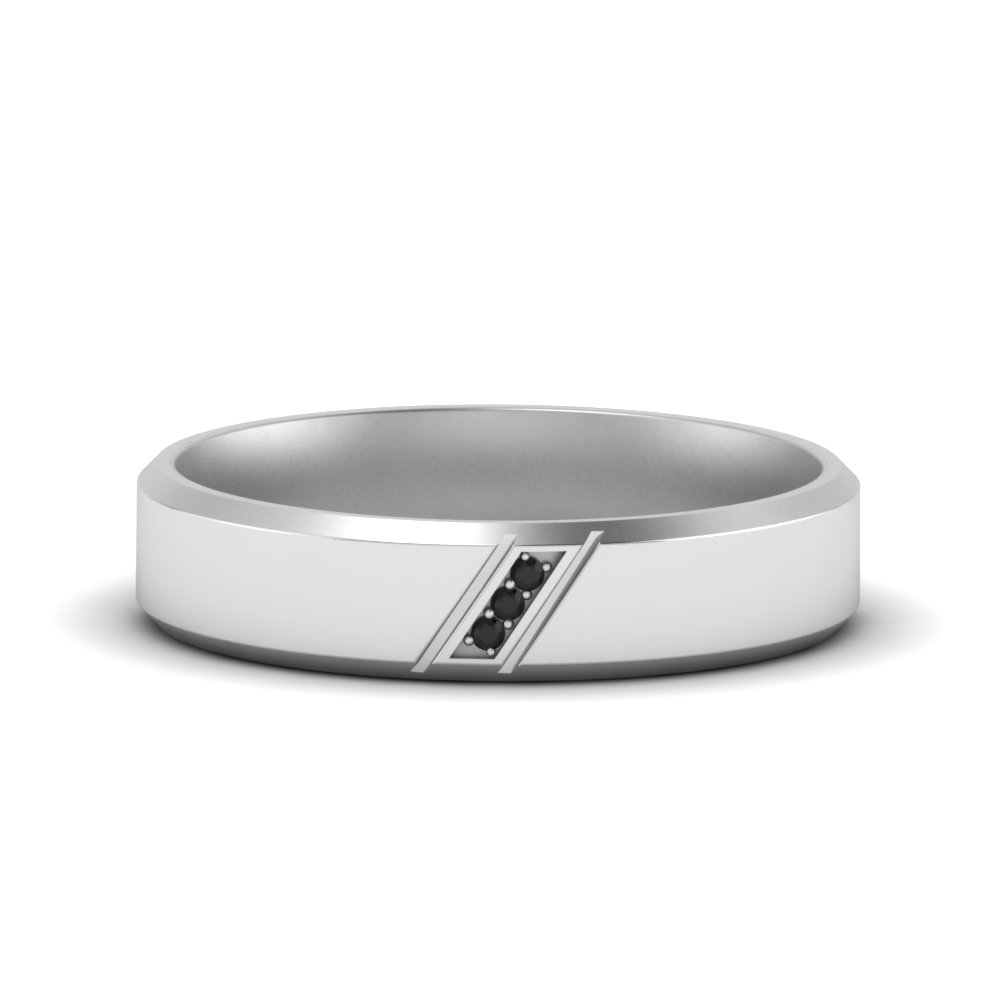 Beveled 3 Stone Mens Band