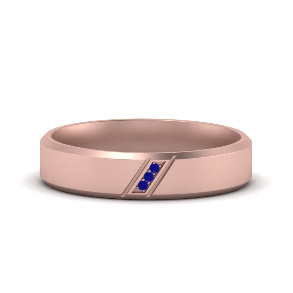 Beveled 3 Stone Mens Wedding Band With Sapphire In 14K Rose Gold ...