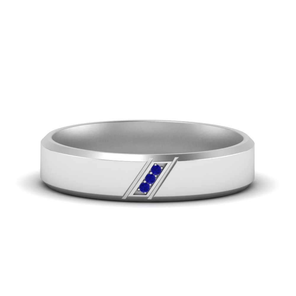 Beveled 3 Stone Mens Wedding Band