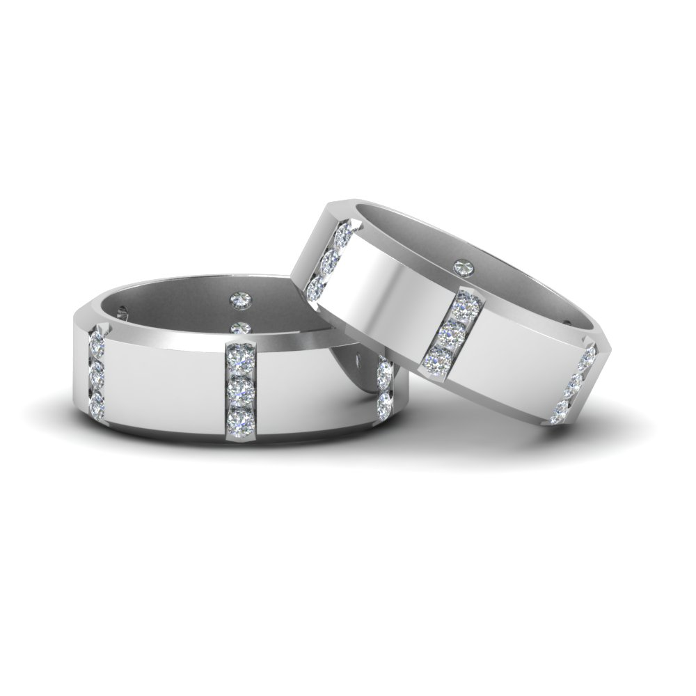 Beveled Gay Ring With Diamonds In 14K White Gold