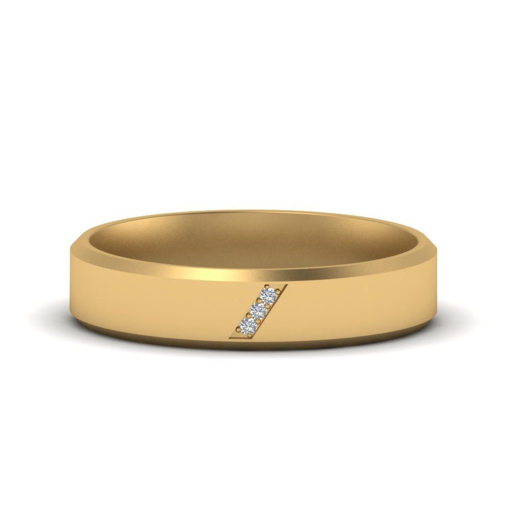 Beveled Mens 3 Stone Wedding Band
