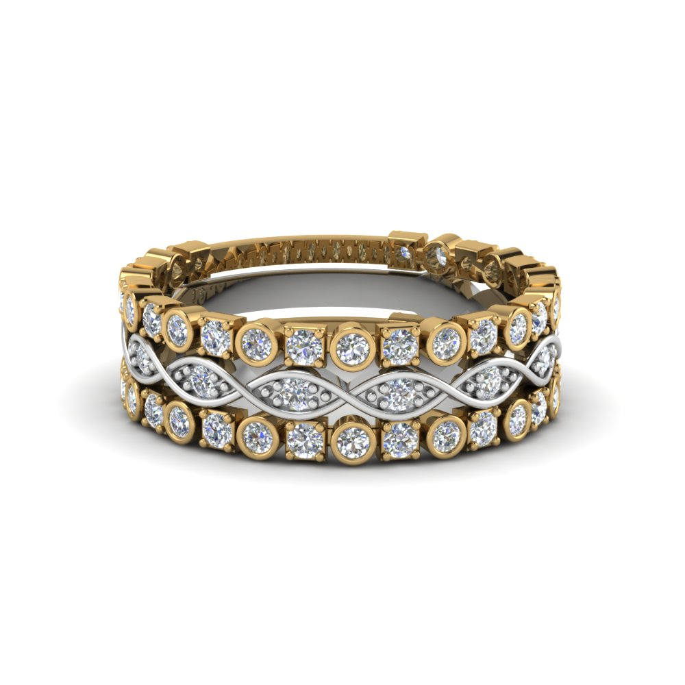 Bezel Set Diamond Stack Band
