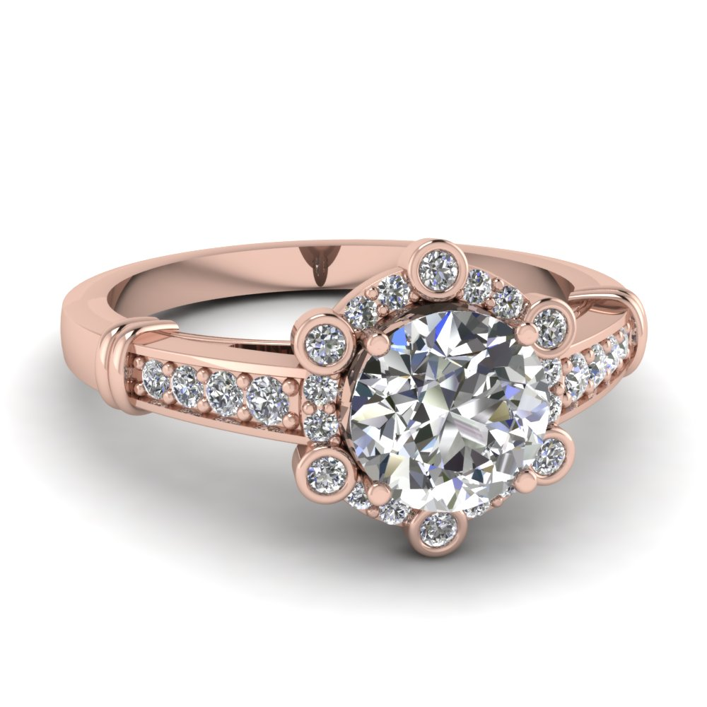 bezel and pave halo diamond engagement handmade ring jewelry in 14K rose gold FDENR9307ROR NL RG