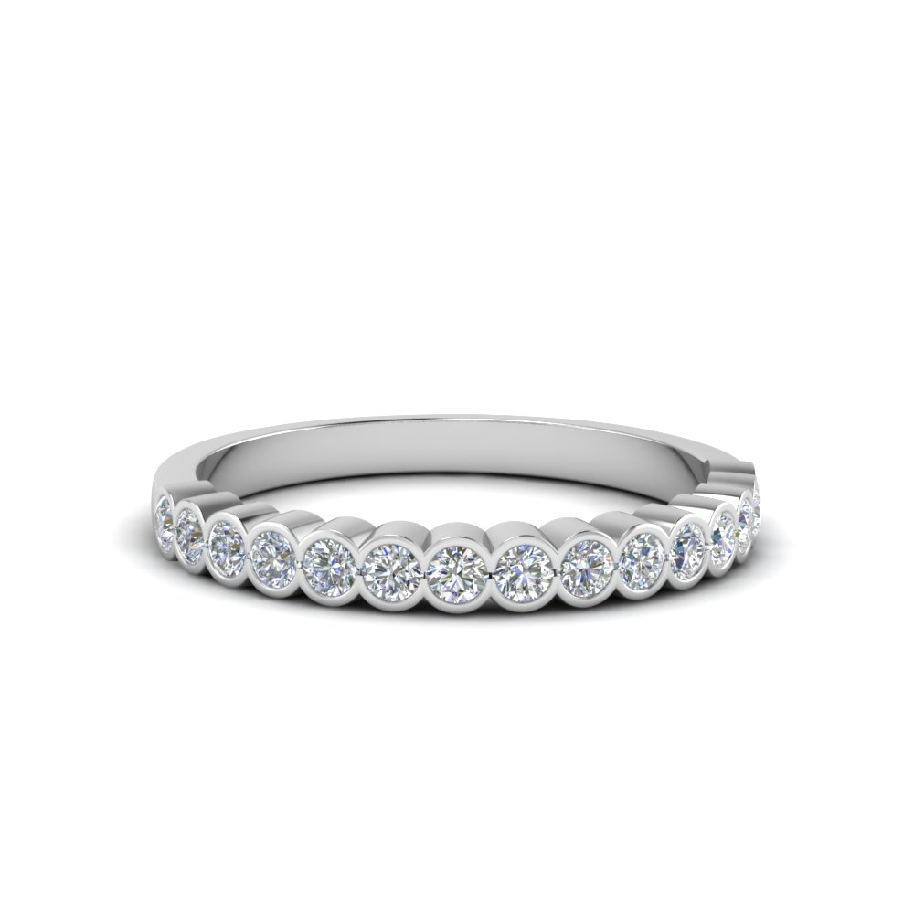 Bezel Channel Set Wedding Band 0.40 Ct.