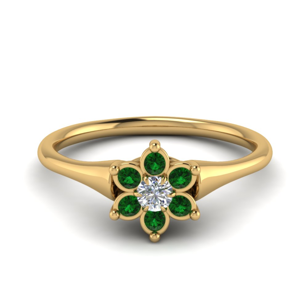 Bezel Emerald Floral Wedding Ring