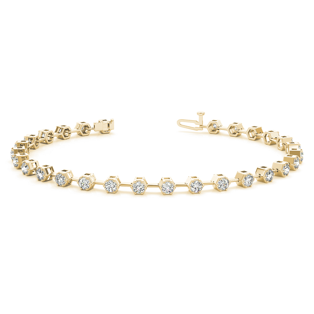 bezel diamond link bracelet for women in FDOBR70312 NL YG